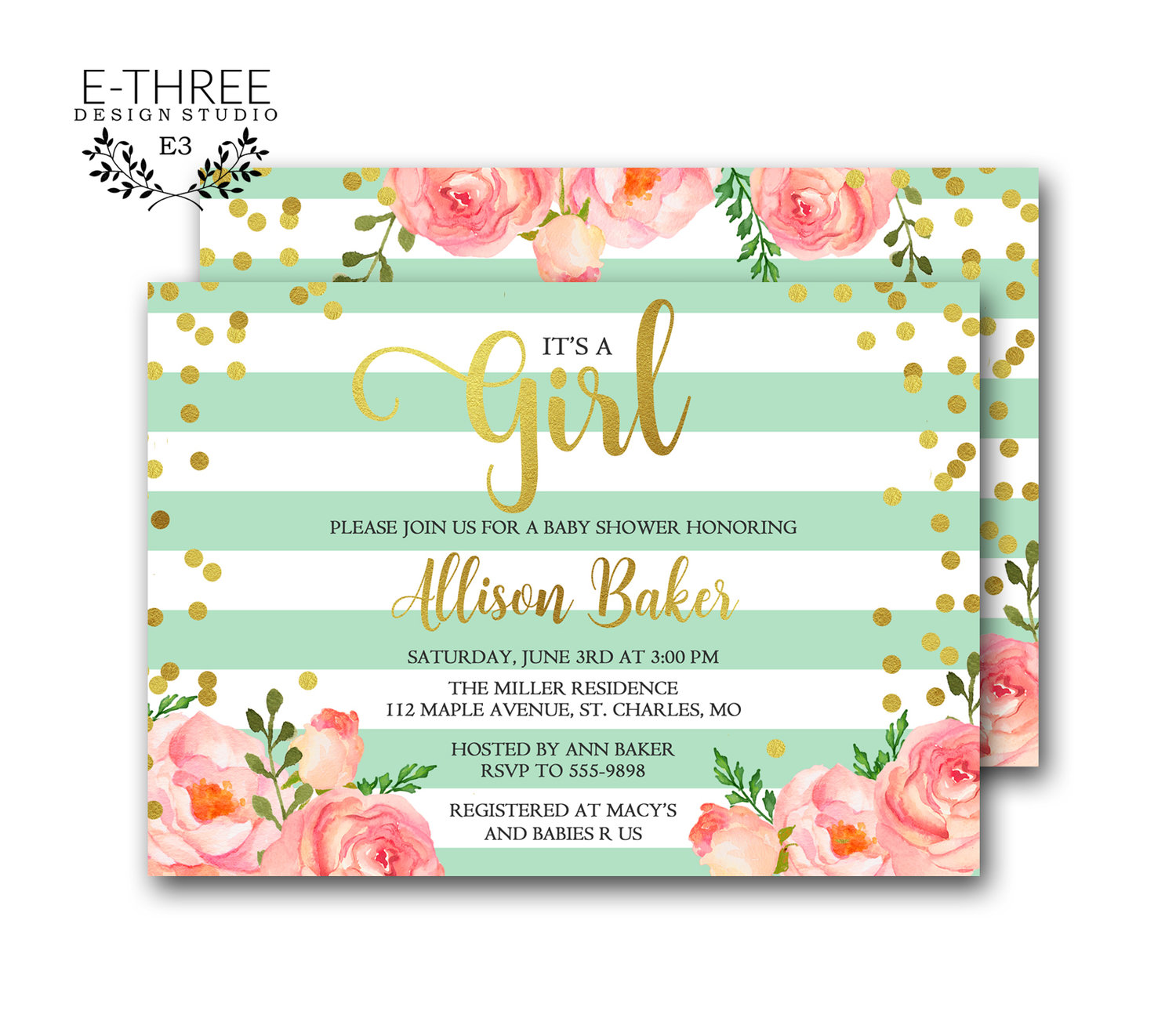 Gold Confetti Baby Shower Invitation Baby Girl Shower Invitations Pink Mint Gold Foil Invite E Three Design Studio