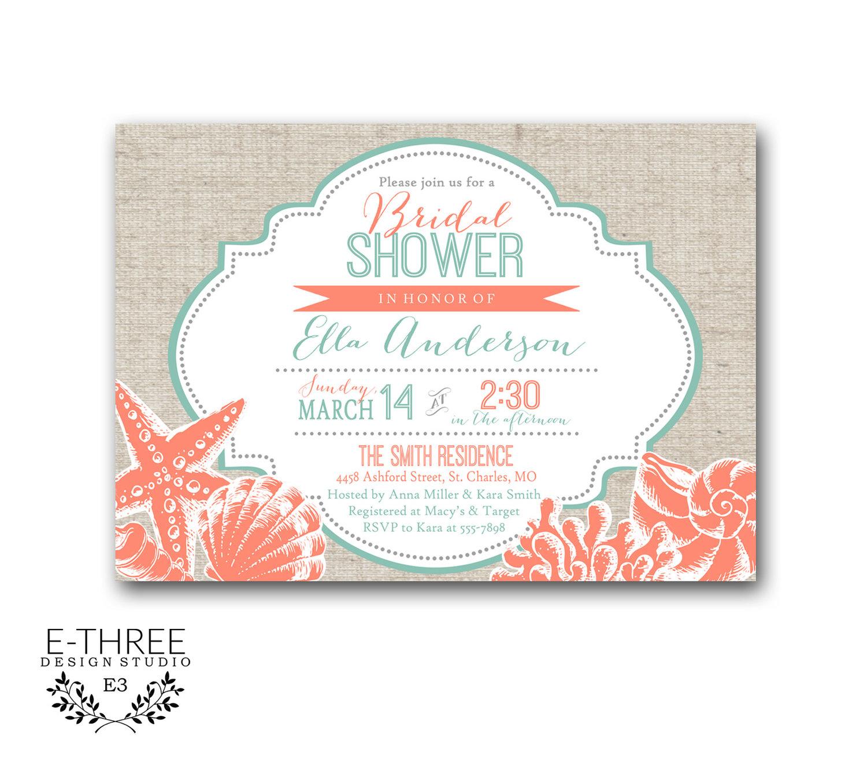 C And Teal Beach Bridal Shower Invitation With Seashells Nautical Destination Wedding 1058 E Three Design Studio