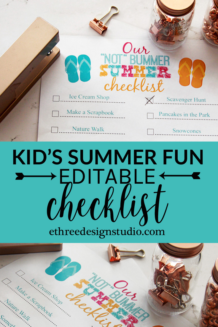 Printable Summer Fun Bucket List for Kids
