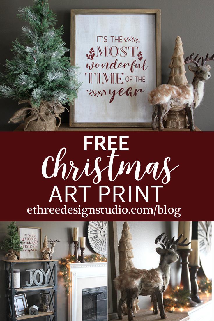 Free Christmas Art Print - EThree Design Studio