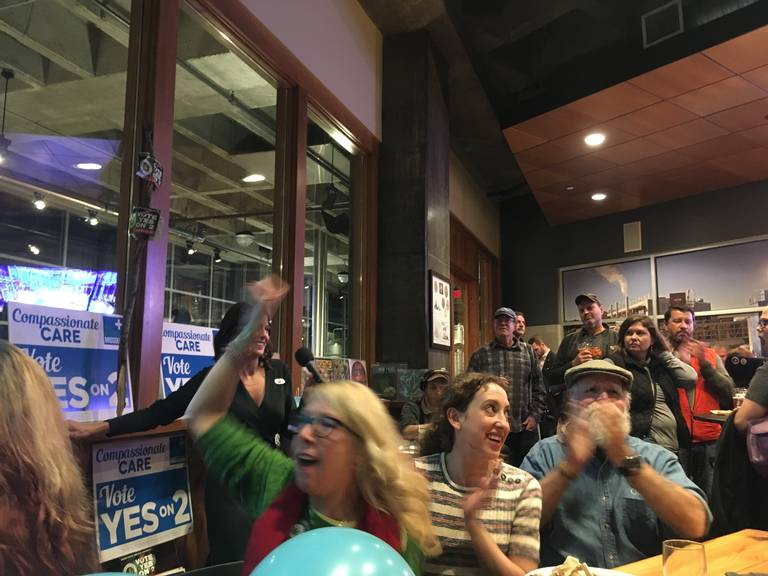 Supporters cheered at a watch party in Kansas City as Amendment 2 took an early lead over two other medical marijuana questions on the Missouri ballot. Andy Marso amarso@kcstar.com
