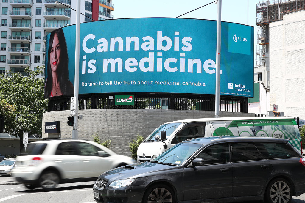 A billboard for Helius Therapeutics, a  licensed medical cannabis company, in Auckland. Public opinion in New  Zealand has been moving toward acceptance of recreational marijuana use.