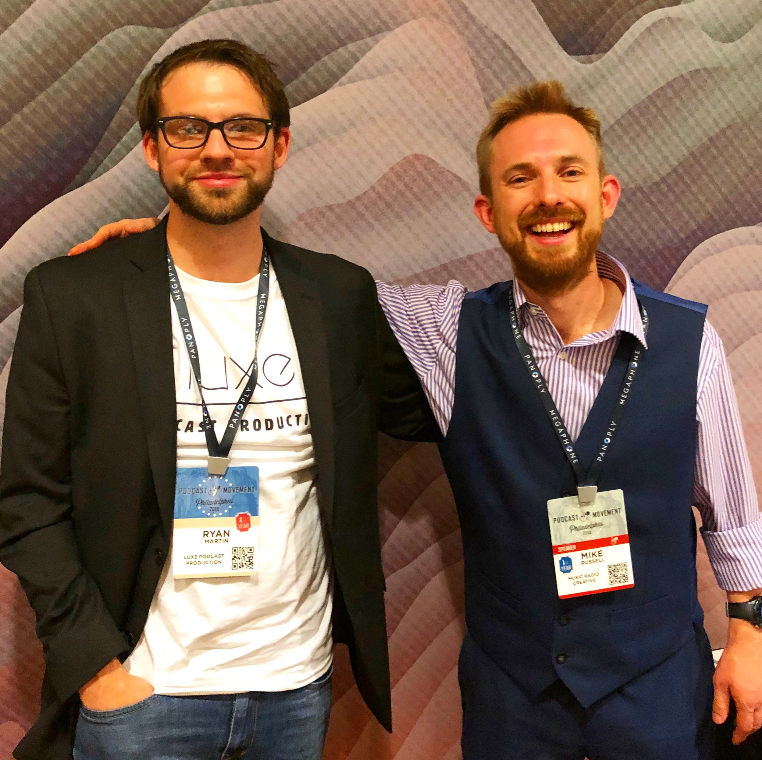 Founder, Ryan Martin, and Mike Russell at Podcast Movement, 2018
