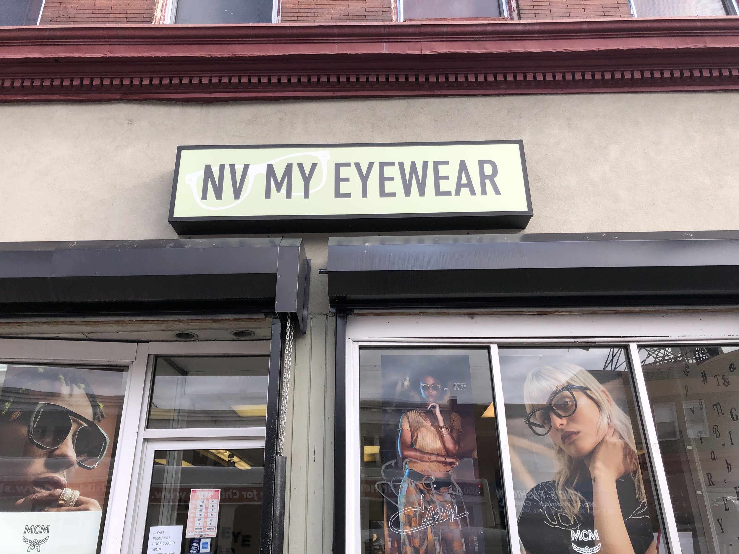 The front entrance of NV My Eyewear, located on 52nd St in Philadelphia, PA
