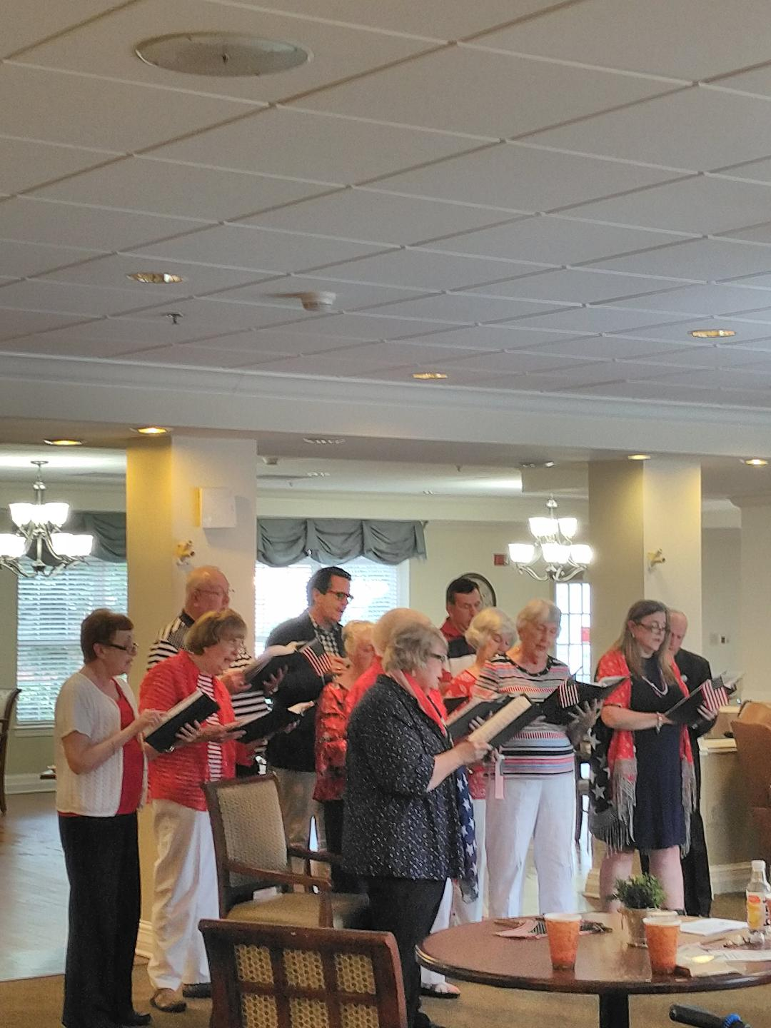 Patriotic Concert at Brookside Assisted Living - Recently our choir presented a program of patriotic music to the patients at Brookside Assisted Living. Though it was enjoyable to share the music, the choir especially enjoyed interaction with all the new friends they met at Brookside.