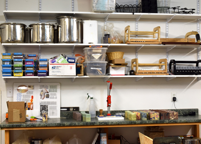 Robin's work space now includes plenty of shelving for molds and other tools and ingredients.