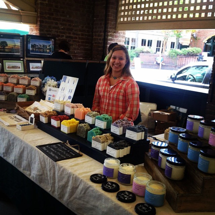 Hannah helping  Old Whaling Company  at the Charleston City Market. Notice the big smile and clean, comfortable outfit!