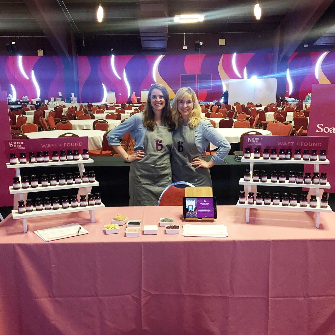 Lily (left) and Amanda (right) working the Bramble Berry table on the first day of the conference.