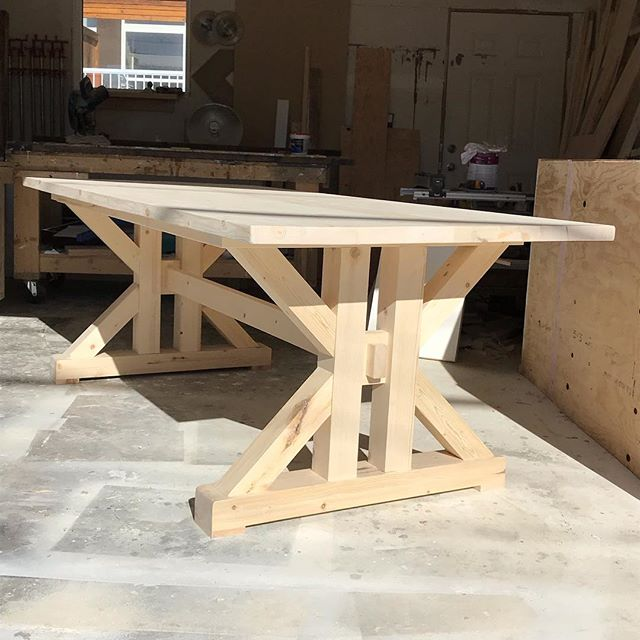 Don't call it a comeback...we've been incredibly MIA on the insta, but that doesn't mean we've been MIA in the shop busting out orders. Phil's working on finishing up this sweet French farmhouse table. Just need to sort out some extensions and were set! #diningtable #harvesttable #farmhousetable #kitchentable #frenchfarmhouse