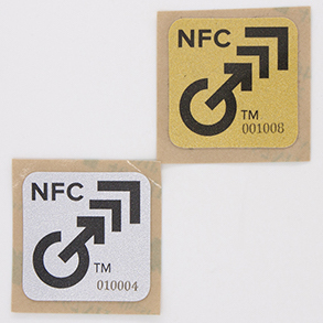 NFC stickers with metallic gold and silver effects -