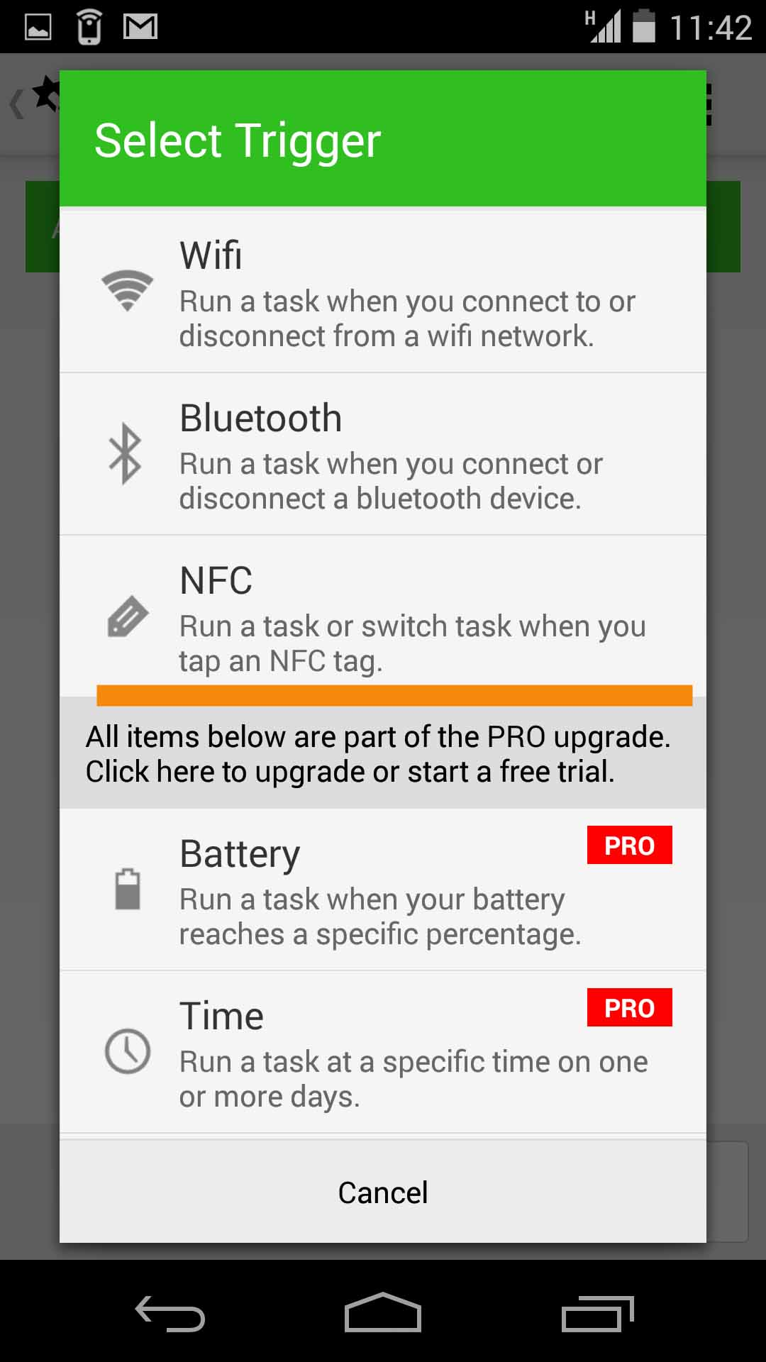 - Step 4: Select NFC to specify that you want to use your NFC tag to trigger your task