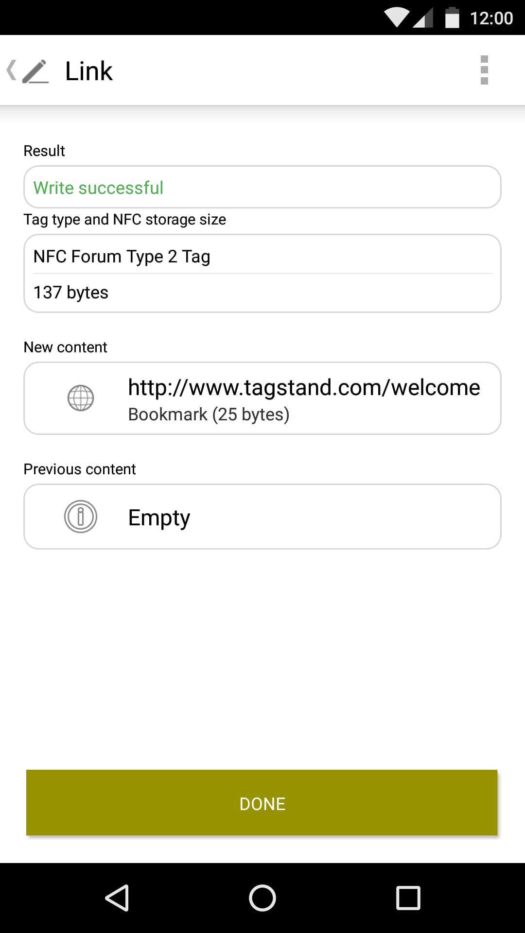 "Final Step - The last screen takes you back to the Link page, and shows you the:-Tag writing status-Tag specifications-The current and previous contents on the tagIf you are satisfied, click ""Done"" and the programming process is complete!"