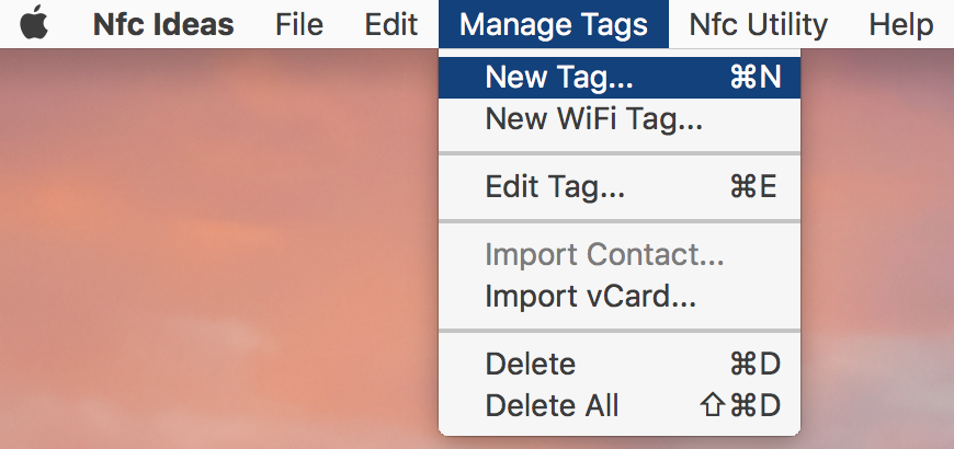 From the top navigation, create a New Tag