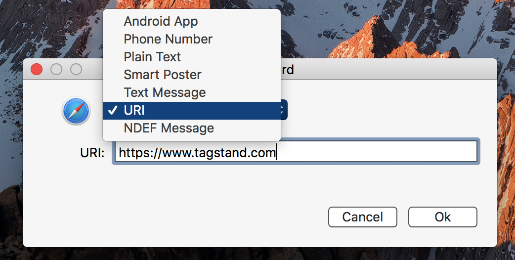 Select data type, and write in the message