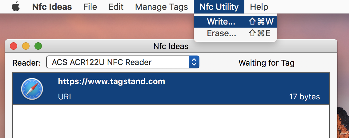 Highlight the tag data that you created, then go to Nfc Utility > Write