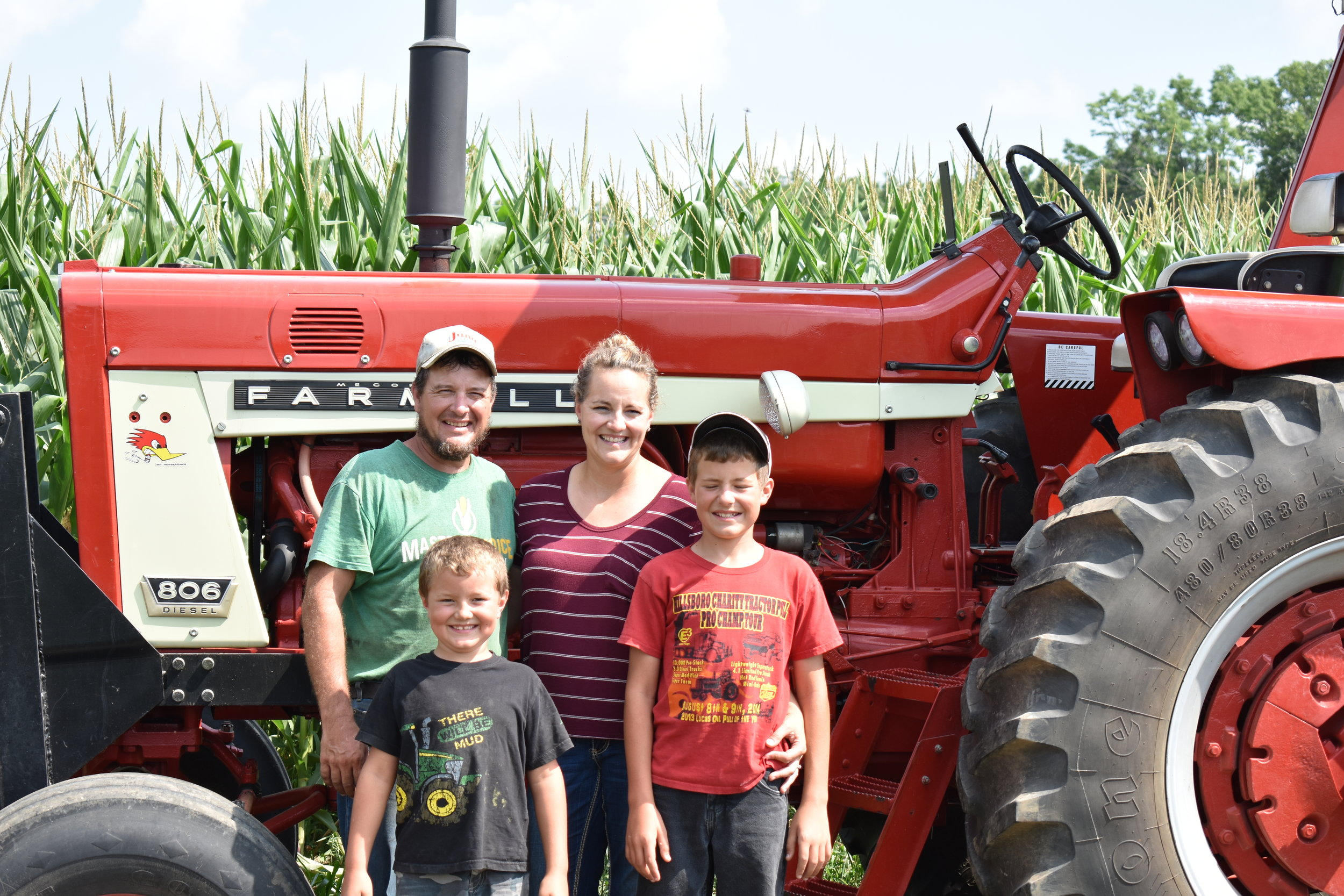 "Shiloh Farms - Ben and his wife, Corey, and their two boys, Case and Avery, have been farming in Wonewoc for 7 years. He grew up in Sandusky, OH, spent some time working in a sheriff's department, but was always brought back to farming where he ""felt most at peace with the Lord."" Their farm, Shiloh Farms, is indeed a peaceful place. It is clean, well-kept, and has an amazing tree house and swing set off of an old rambling pine tree in the front yard where the children can be seen playing. It seems a perfect place to be a child. And a perfect place to grow small grains."