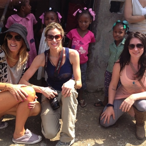 Sarah Robarts with Brooke Burns visiting the Cura Orphanage in Kenya