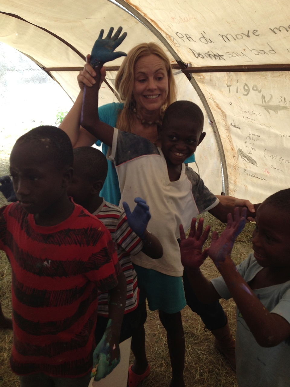 Maria Bello visiting the Cura Orphanage in Kenya