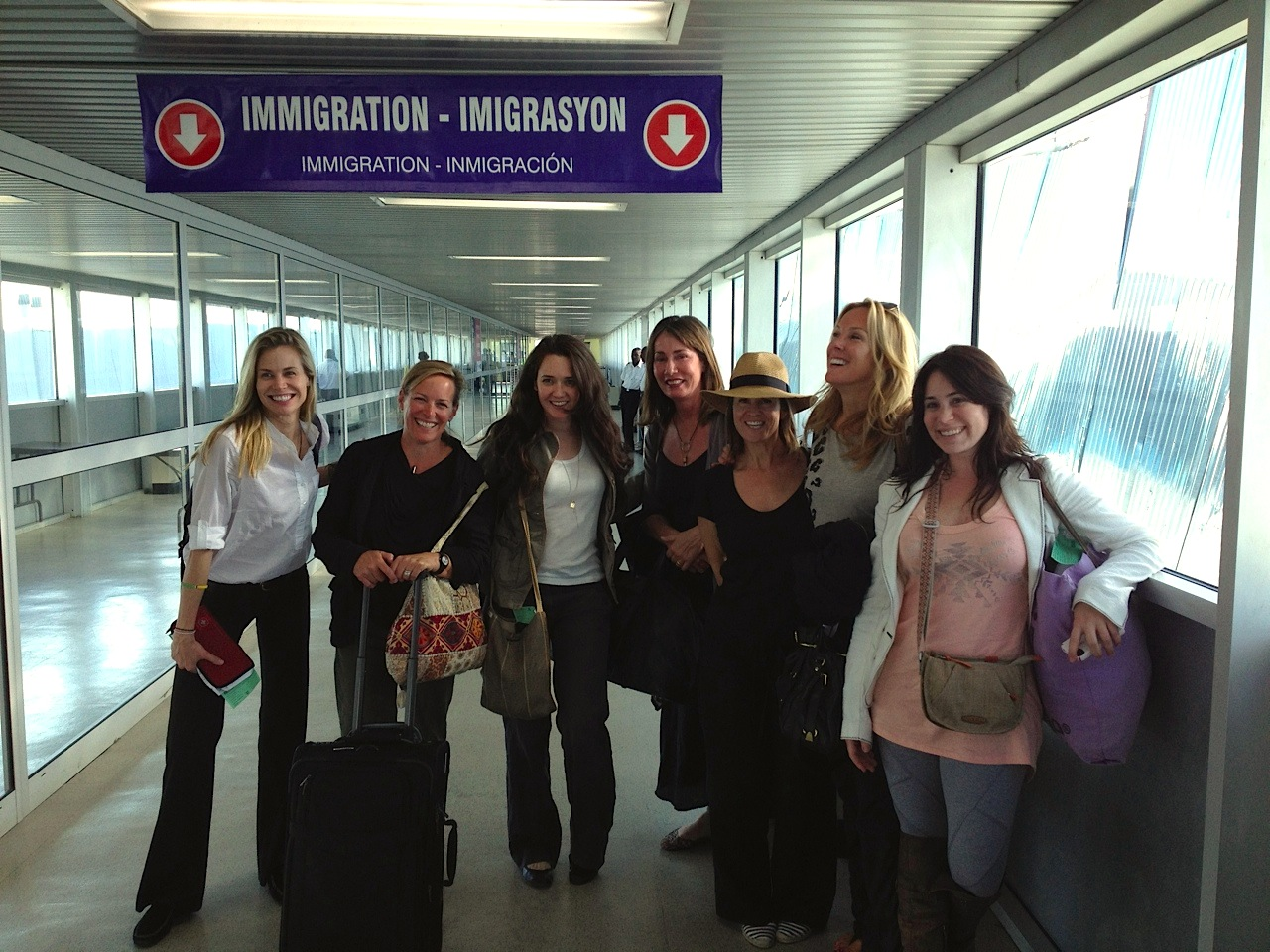 Maria Bello, the WeAdvance team and Sarah Robarts arrive in Kenya