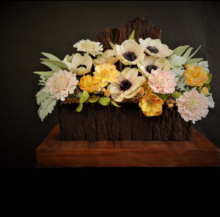 Faux Bark Flower Planter with Sugar Flowers
