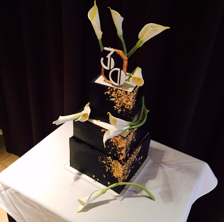Art Deco Birthday Cake with Calla Lilies