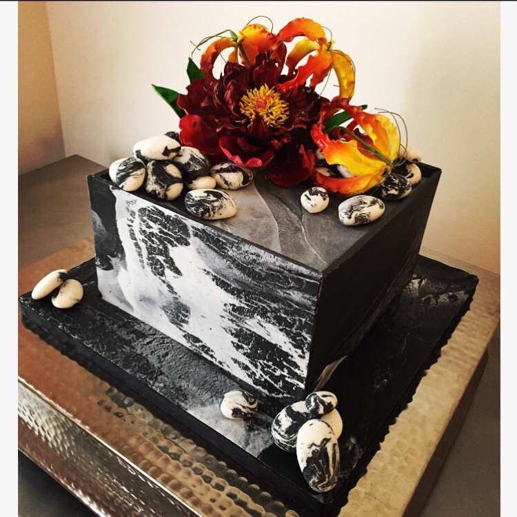 Fire + Ice Birthday Cake with sugar Gloriosa Lilies and Peony