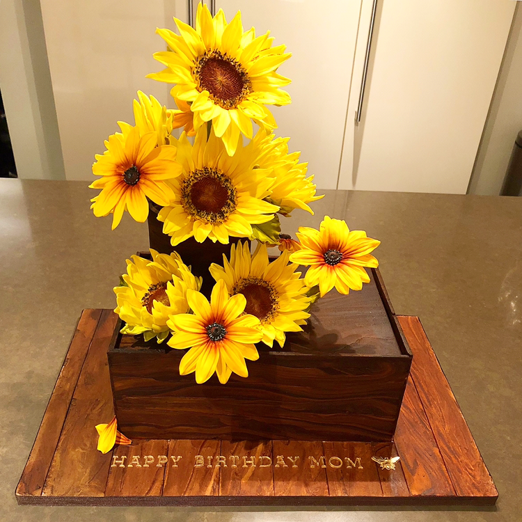 Faux Wood Birthday Cake with Sugar Sunflowers and Rudbeckia