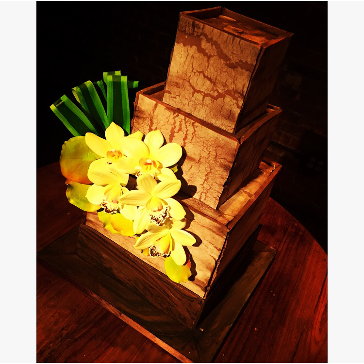 Faux Weathered Wood Cake with Sugar Orchids and Greenery