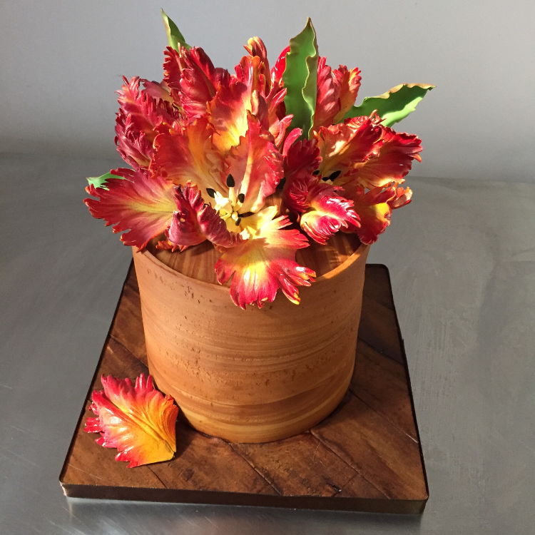 Faux Bois Birthday Cake with Fiery Sugar Parrot Tulips