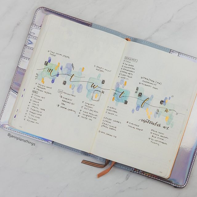 I think I loved my month of abstract spreads because of how easy they were to do, and how quickly they came together! A godsend for my recovering hand. . . .  Materials Used: ⭐️ Leuchtturm1917 Dot Grid A5 Notebook (Copper) ⭐️ @choosetodo journal cover ⭐️ Uni Kuru Toga Advance Mechanical Pencil 0.5mm ⭐️ Sakura Micron Pen Black in 01, 08 ⭐️ Tombow Fudenosuke Hard Tip Brush Pen ⭐️ Daniel Smith Watercolors ⭐️ Holbein Brilliant Gold Gouache. ⭐️ Sakura Gelly Roll 08 in White . . . #mybujo #bulletjournal #bujoinspo #jannplansthings #bujojunkies #showmeyourplanner #bulletjournaller #bujo #bujolover #bulletjournaljunkies #planwithme #leuchtturm1917 #bujolove #studyspo #jade #jadeite #jadebangle #getorganised #watercolor #bulletjournaling #plannercommunity #bujoweeklyspread #bujoideas #watercolour #plannerjunkies #bulletjournalss #abstractwatercolor