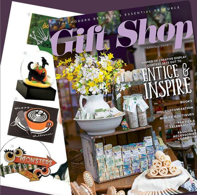 "GIFT SHOP MAGAZINE  SPRING 2019  Feature: ""Scary Good Halloween Finds"" (Pg 39).   Featured Item: ""Halloween Latte"" Greeting Card"