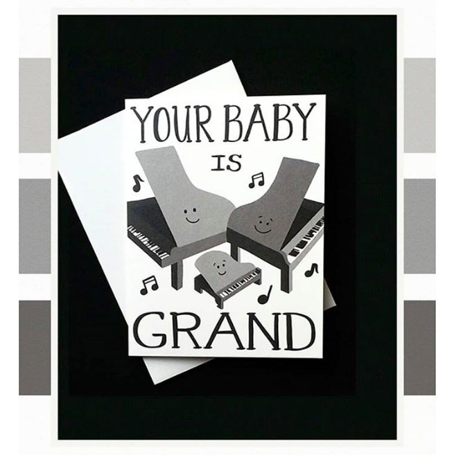 "STATIONERY TRENDS  DECEMBER 2017  Trend of the Month Club ""500 Shades of Grey""   Featured Item: ""Baby Grand"" Greeting Card"