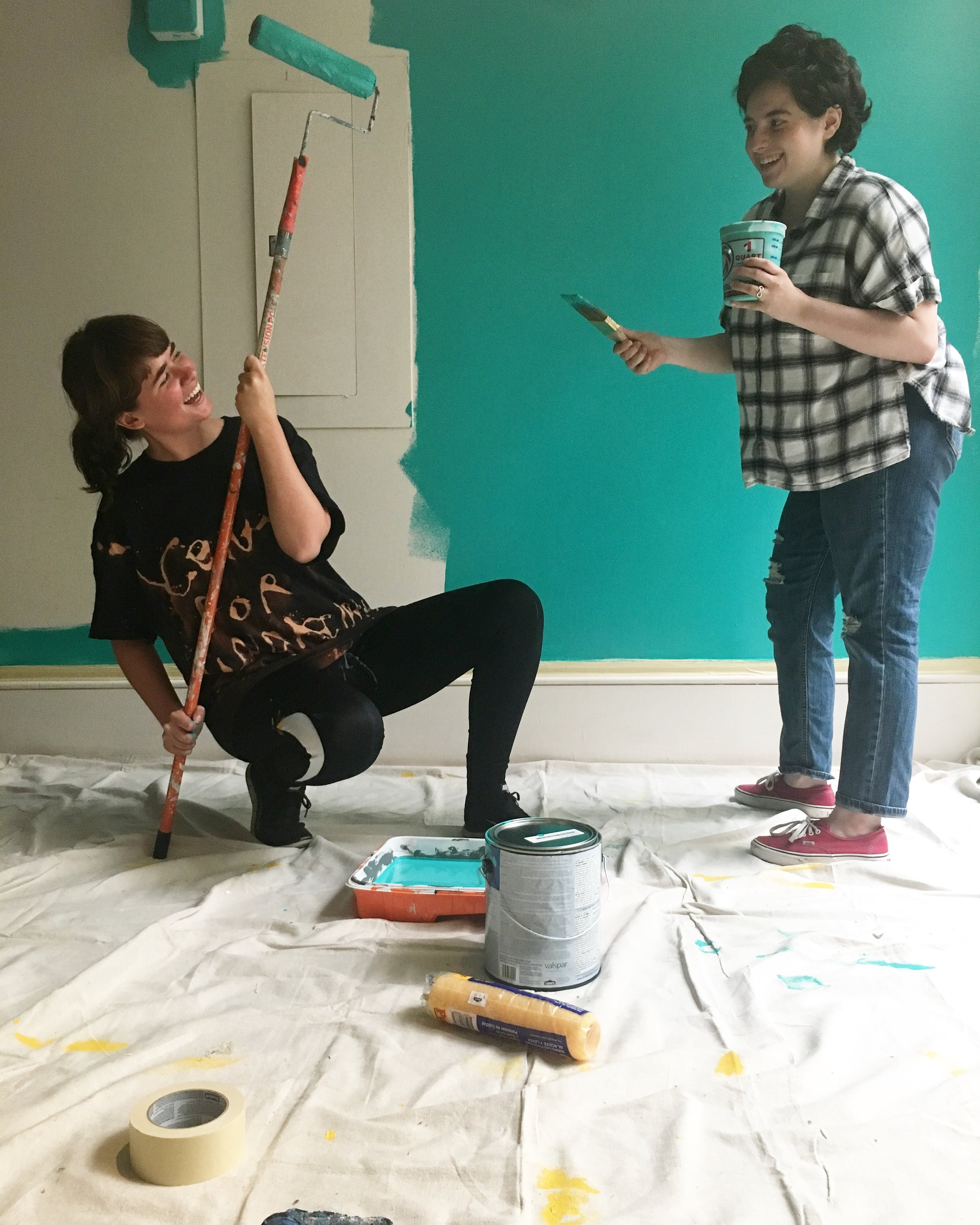 We finally painted our wall at the New Bedford Art Museum! Here's Holly Podesta, Naturalist and Interspecies Communication Officer, and I painted the wall aqua. Thanks for the photo, Jamie Uretsky!
