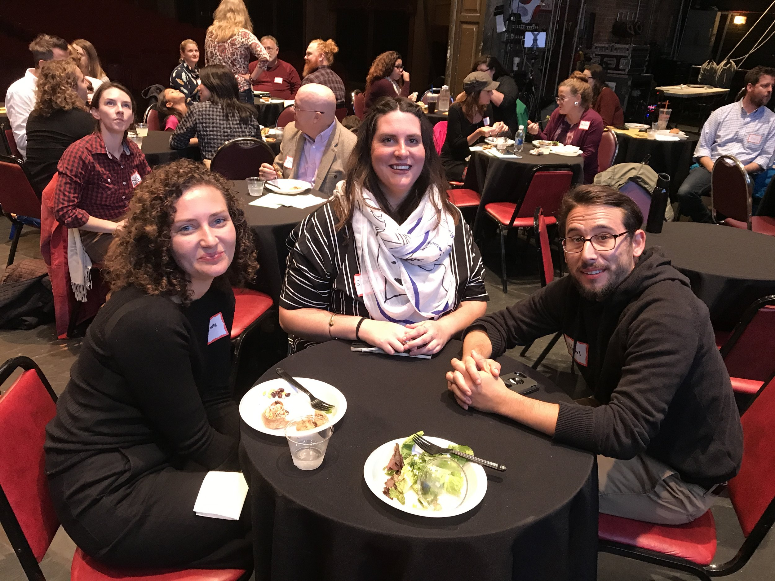 A lot of the Center's buddies were in town this week for the Teaching Social Practice conference organized by Ellen Mueller! Here's Amanda Leigh Evans, Sidney Stretz, and Adam Carlin.