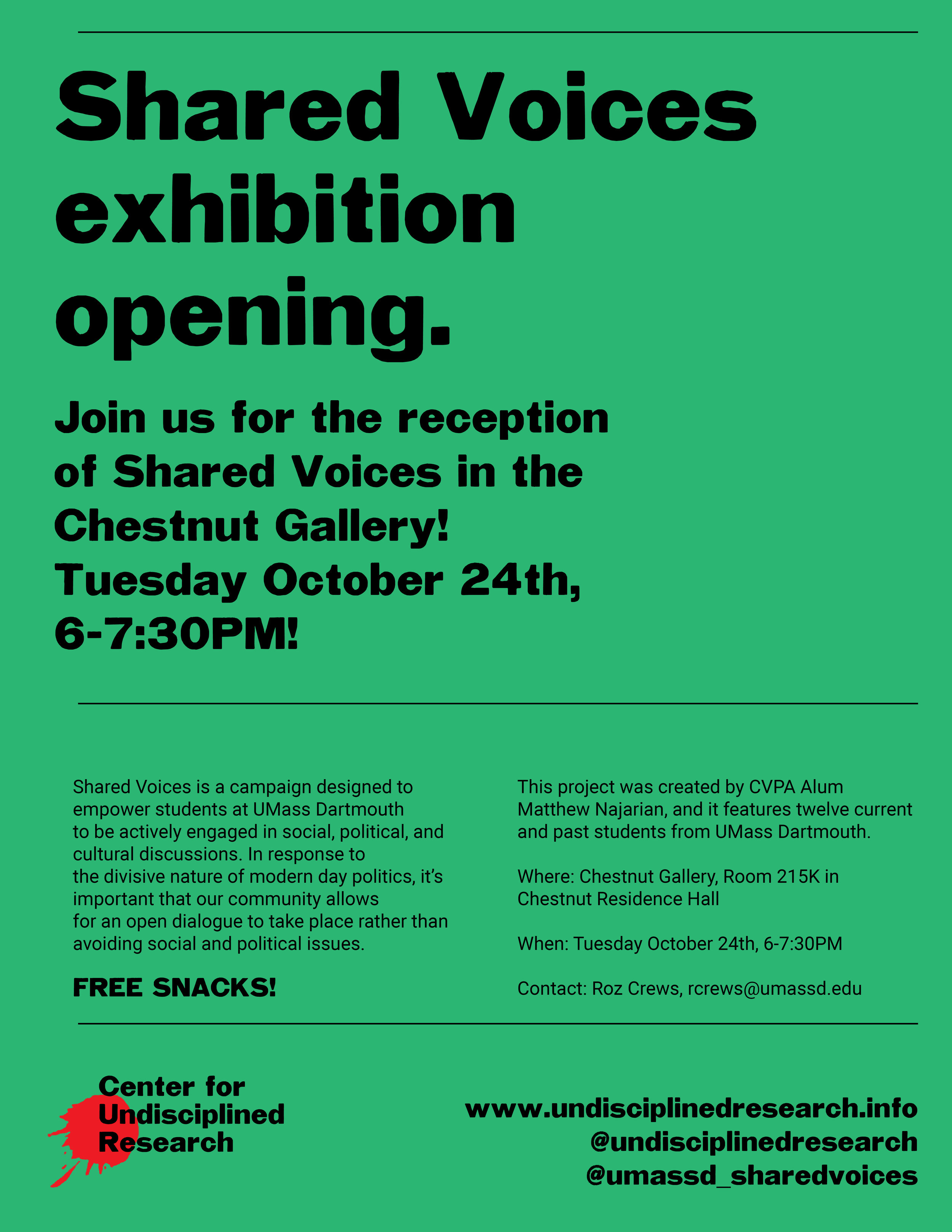 Please join us for the opening reception of the Shared Voices exhibition!