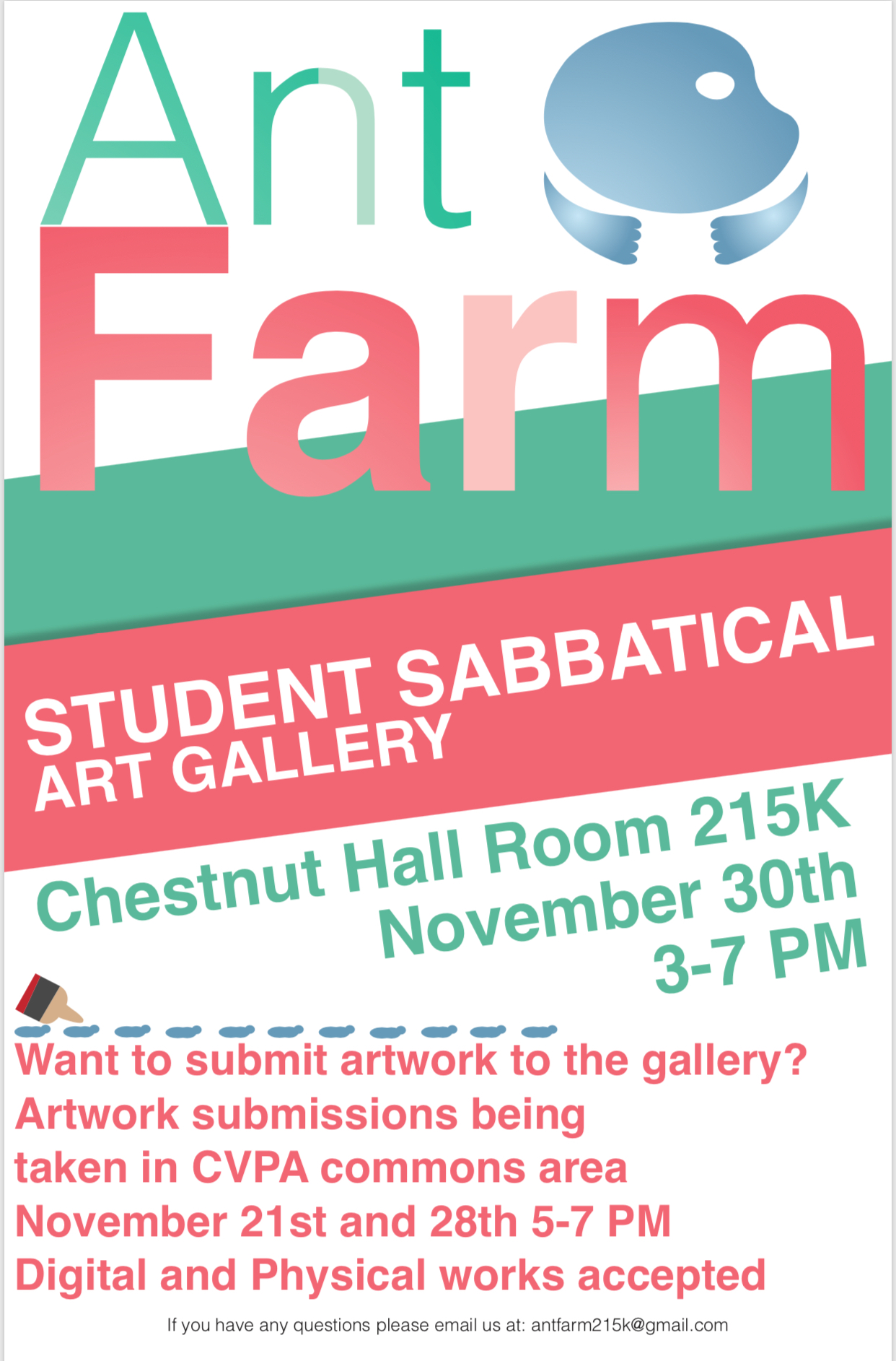 Over the last couple weeks, first-year student Ben Urdi has been organizing for the first show in the new art gallery in Chestnut Residence Hall! Please contact Ben at antfarm215k@gmail.com to submit your work for the show. There's no restrictions about what the art can be. The show opens on Thursday 11/30!