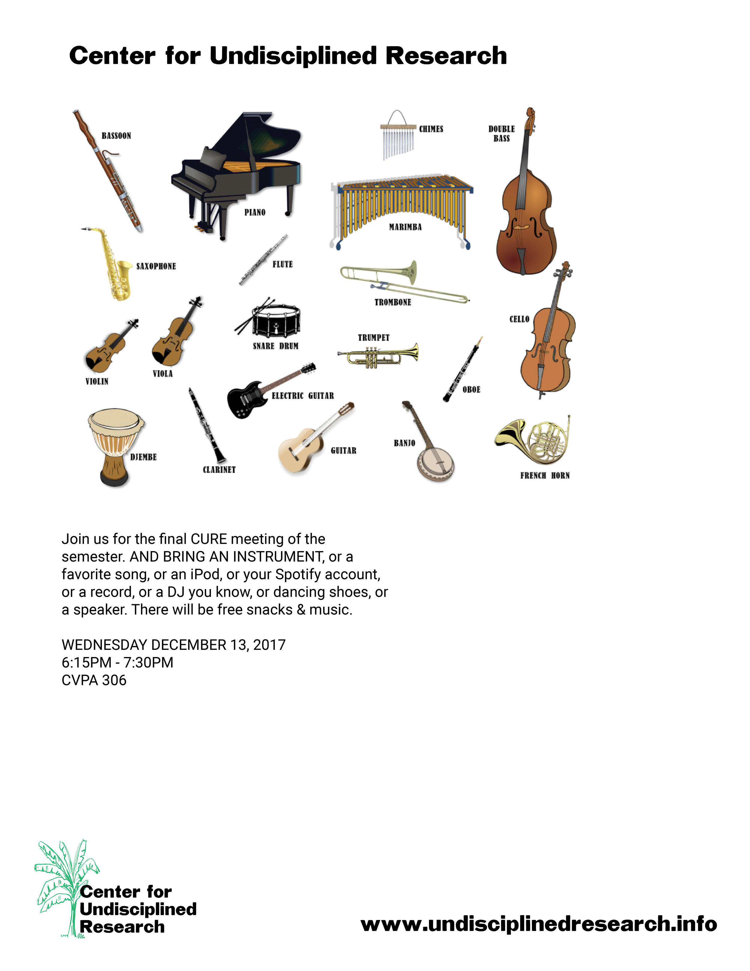 For our final event of the semester, we're hosting a music celebration on Wednesday December 13th, 6:15-7:30PM in CVPA 306! Fingers crossed someone brings an instrument!