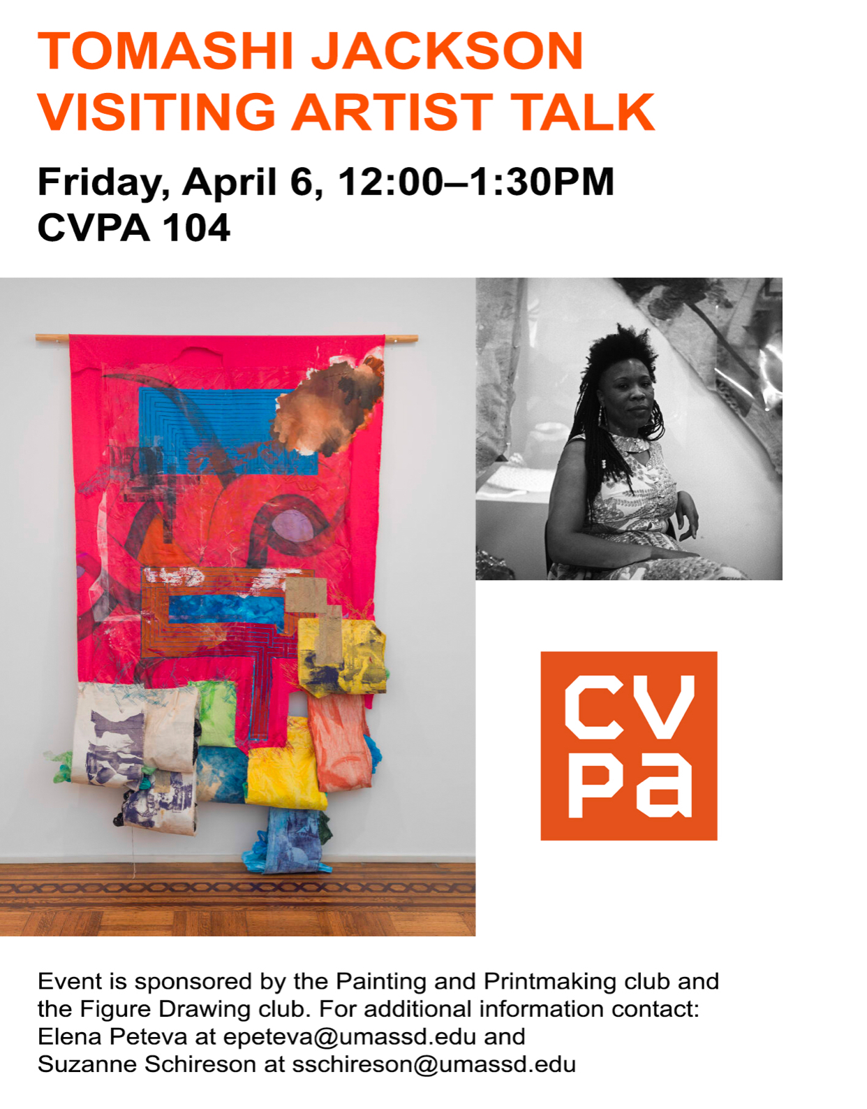 This Friday! Tomashi Jackson will join us, thanks to the Painting and Printmaking club and the Figure Drawing club for sponsoring!