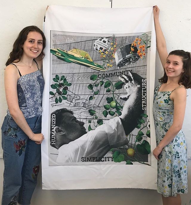 """So excited for these two and their piece (embroidery currently in progress) celebrating Paul Rudolph! Melissa Hacunda and Adeline Thibeault won one of the two """"Student Art Project"""" awards! Thanks to Brian Towne for directing SAP, and we've selected a new SAP director and committee - so the program is coming back next year!!!!! 😍☺️♥️☺️"""