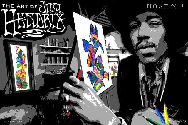 In the original painting composed of three blank canvases, where three of Jimi's digital giclee's original pieces. The entire work was then embodied and copyrighted as one piece. Last July 2016, the piece made it's official debut appearance at Caesar's Palace in the Gallery of Music & Art fronting selected pieces from Jimi Hendrix's fine art collection. The display remained in the gallery for an unprecidented six months.