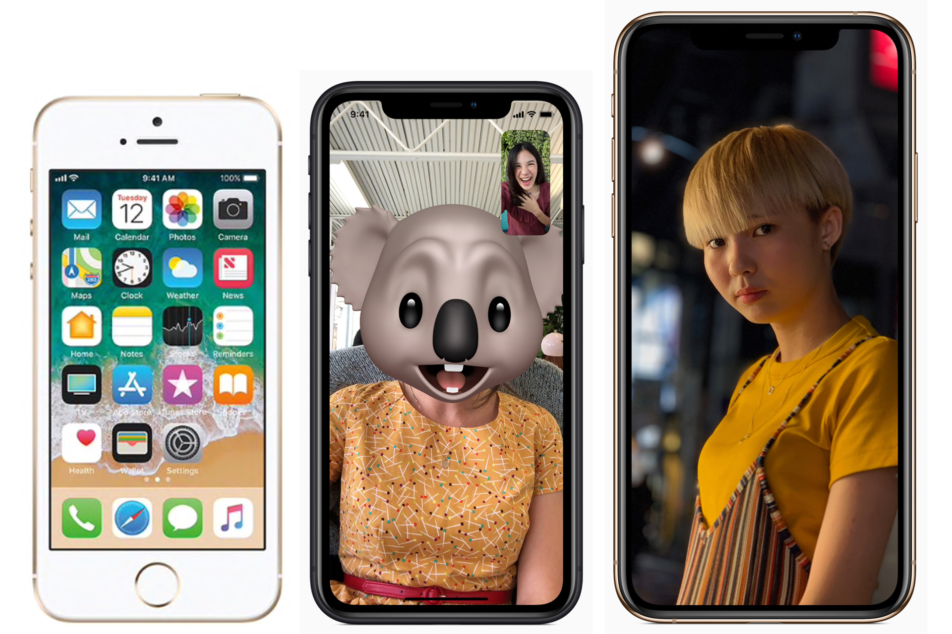 An iPhone XR Mini, center, should replace the discontinued iPhone SE, left. The photos are shown to scale, with an iPhone XS for comparison. (Photos, Apple; collage, Glenn Marston)
