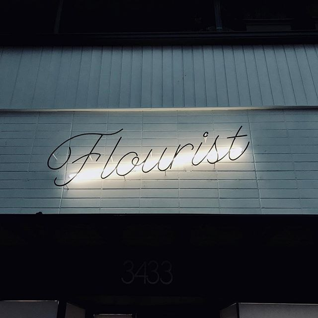 We are excited to get the opportunity to build this piece for @flourist  The design by @glasfurdwalker was intended to look handwritten.  The neon as subtle illumination from behind.  All these intricate bends would not be possible without our new/old manual bender from @diacro1942 . . . #vancouversigns #signmaker #handmadesigns #sign #vancouversigns #handmadesign #metalsign #madeinvancouver #signfabrication #signcollective #neonvancouver #neonsignage