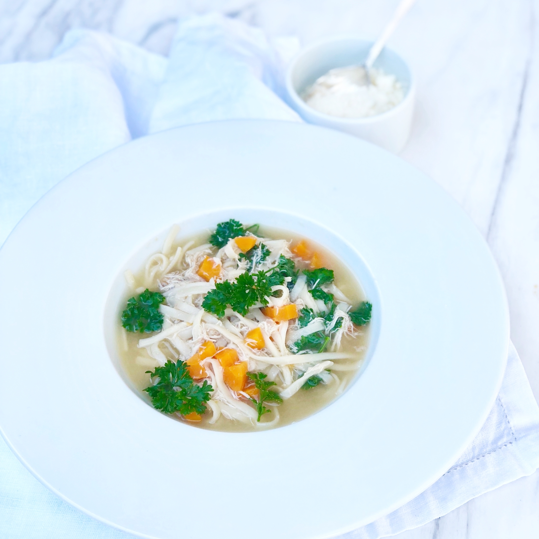 Chicken noodle soup with my 'base' chicken broth soup
