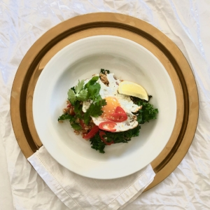 Ginger and kale rice with fried egg GF DF V