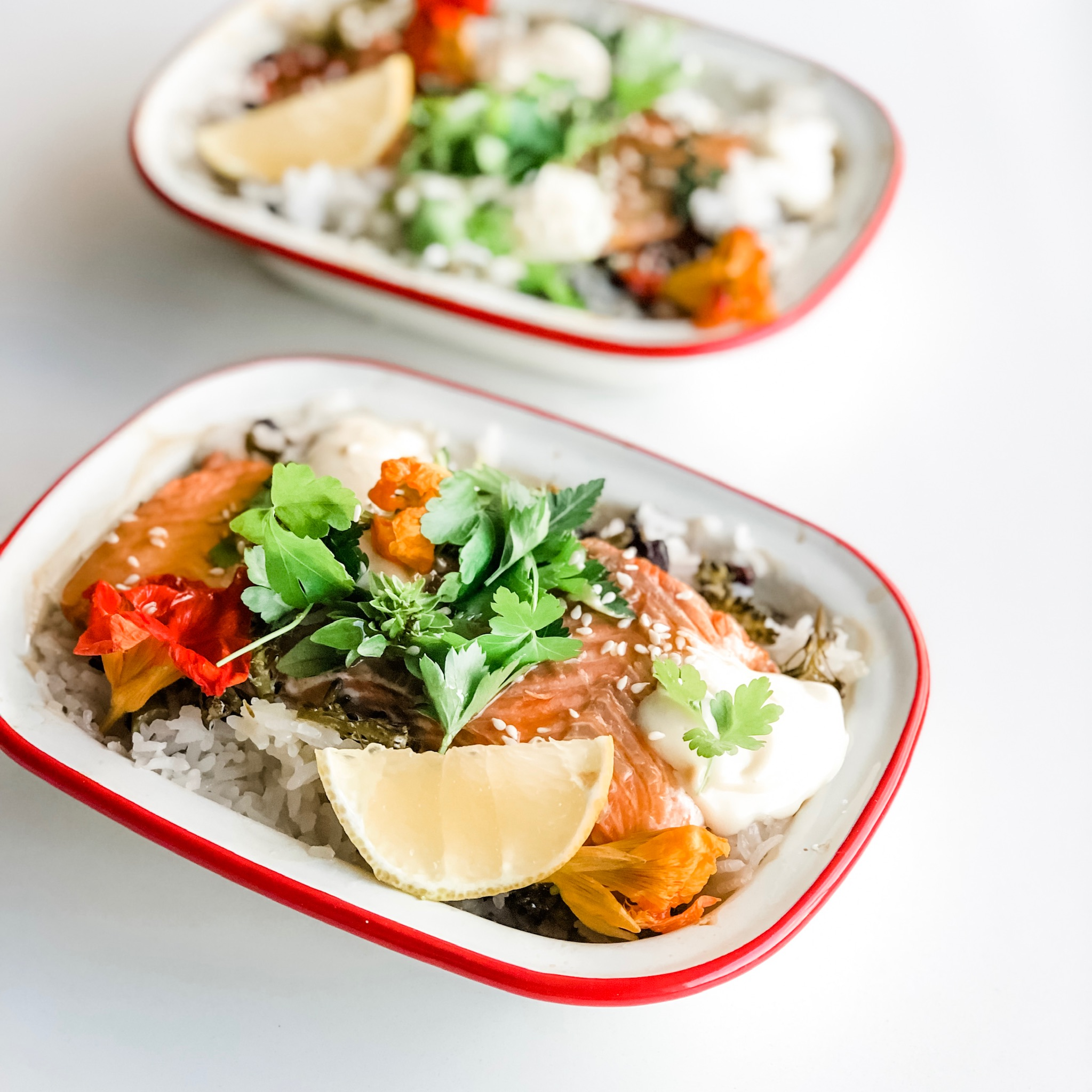 All in one baked rice and wild salmon GF