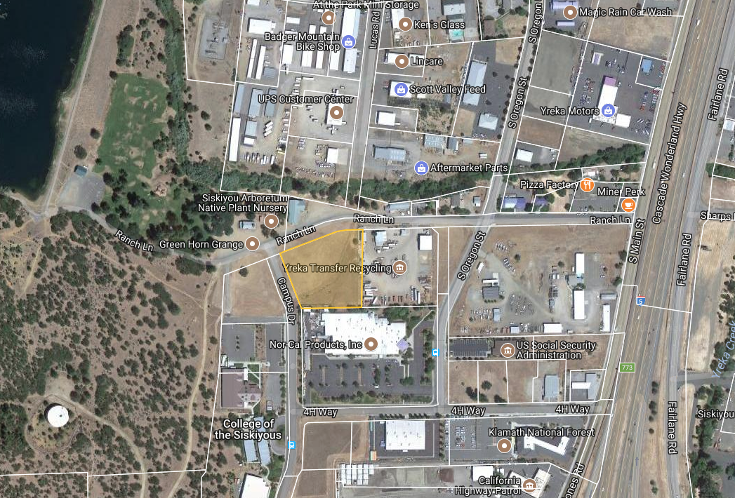 Single Parcel Light Industrial Land - Yreka, CA- Acres: 2.08- Zoning: Light Industrial (M-1)The City of Yreka is interested in selling or leasing the land adjacent to the College of the Siskiyous. The City's first priority for the site is economic development and job creation.