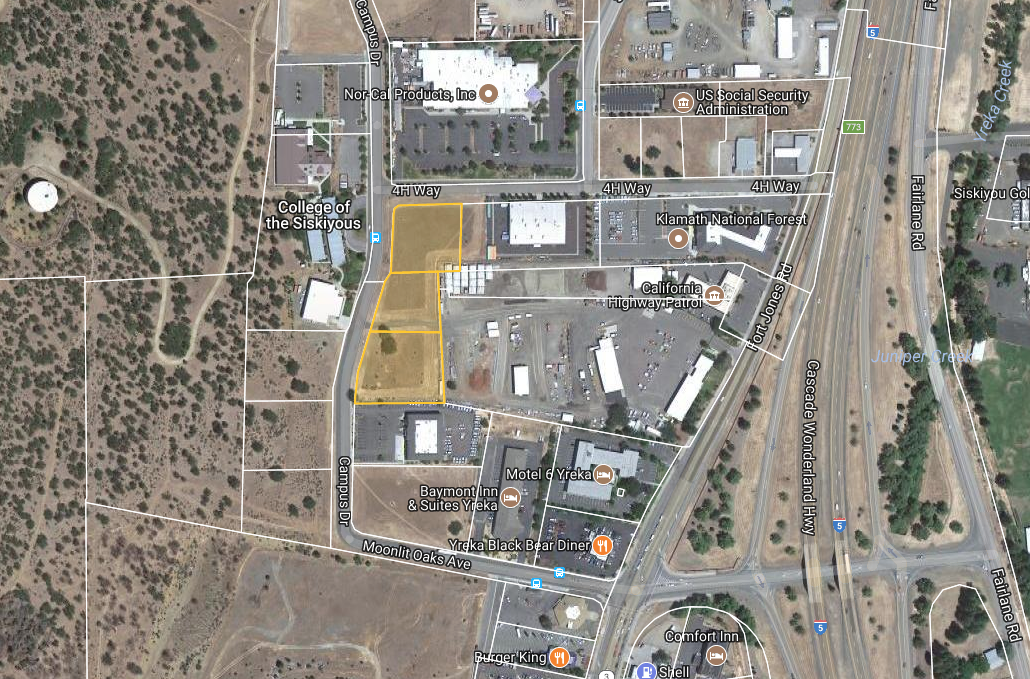 Multiple Parcel Light Industrial Land - Yreka, CAThe City of Yreka is interested in selling or leasing the land adjacent to the College of the Siskiyous. The City's first priority for the site is economic development and job creation.