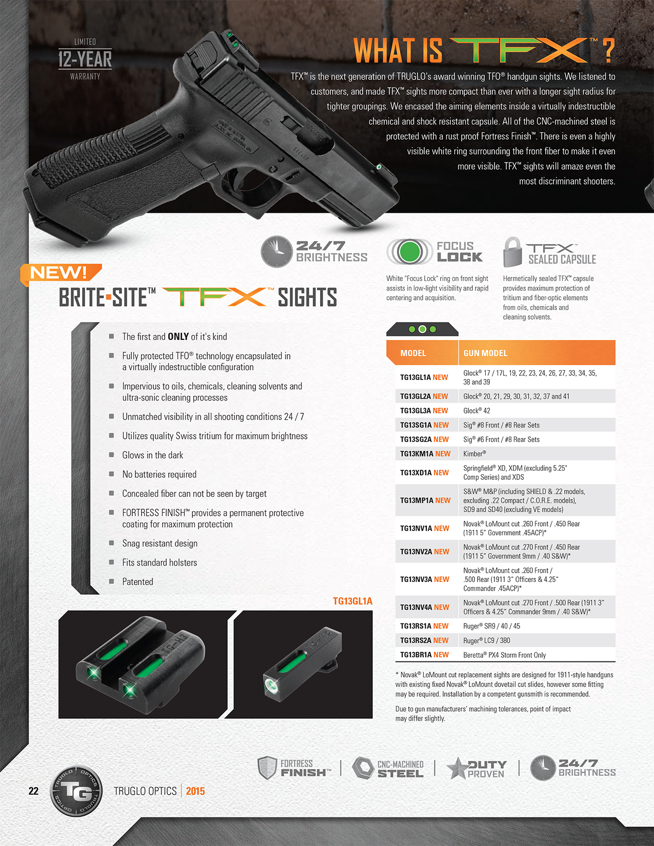 The Truglo TFX page from Truglo's 2015 catalog