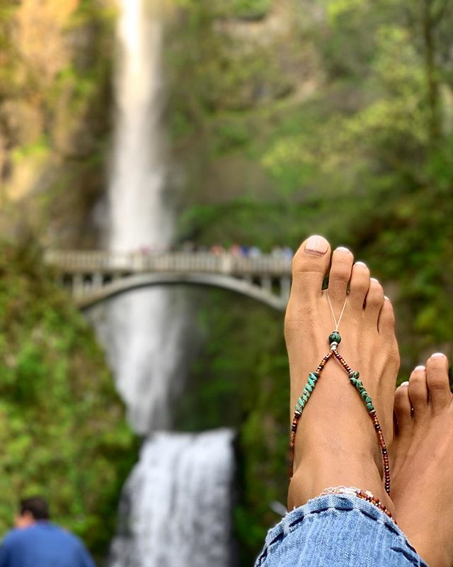 Our newest creation and we're feeling a little in love! . . .  #anklets #handmadejewelry #junglebeedesigns #portlandoregon #multnomahfalls #traveljewelry #giftforher