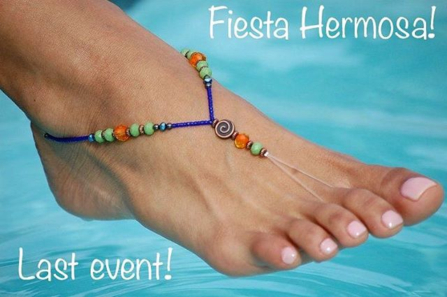 Who will we see at Fiesta Hermosa this weekend?! This will be our last show until next summer season. Come by this Saturday, Sunday or Monday for some fun in our booth! The link for Fiesta info is in our bio! . . . #fiestahermosa #anklets #laborday